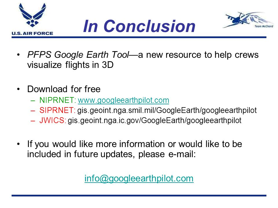 In Conclusion PFPS Google Earth Tool—a new resource to help crews visualize flights in 3D. Download for free.