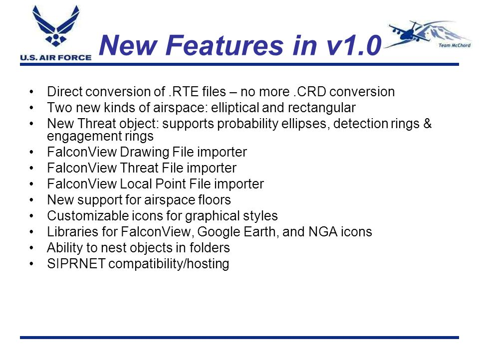 New Features in v1.0 Direct conversion of .RTE files – no more .CRD conversion. Two new kinds of airspace: elliptical and rectangular.