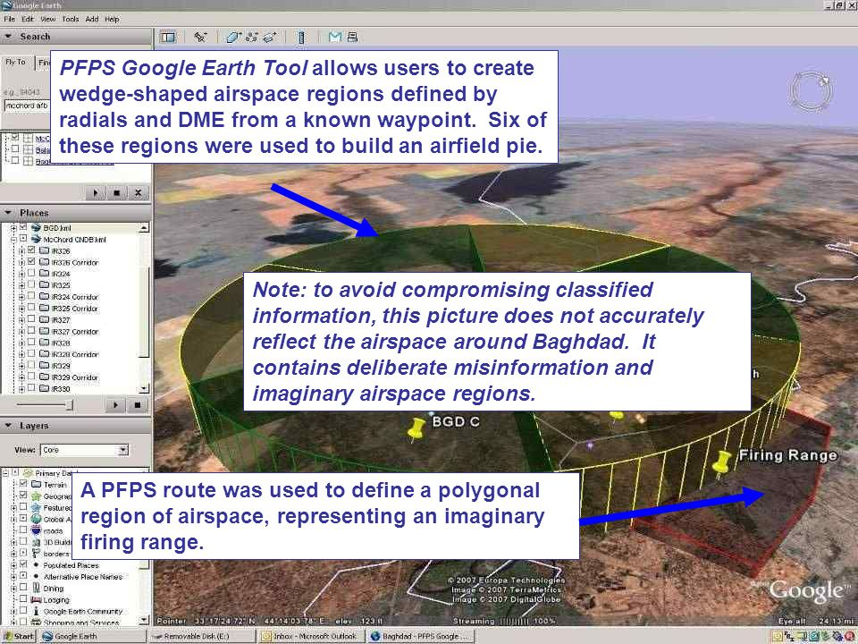 PFPS Google Earth Tool allows users to create wedge-shaped airspace regions defined by radials and DME from a known waypoint. Six of these regions were used to build an airfield pie.