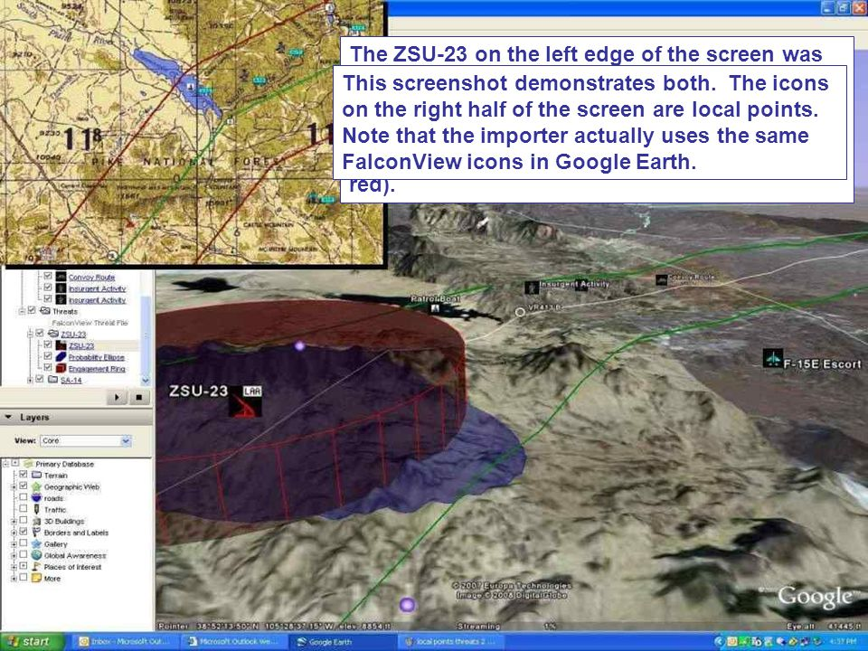 The ZSU-23 on the left edge of the screen was loaded using the Threat Importer. For any given threat, users can specify probability ellipses (shown here in blue), detection rings (not shown), and engagement rings (shown in red).