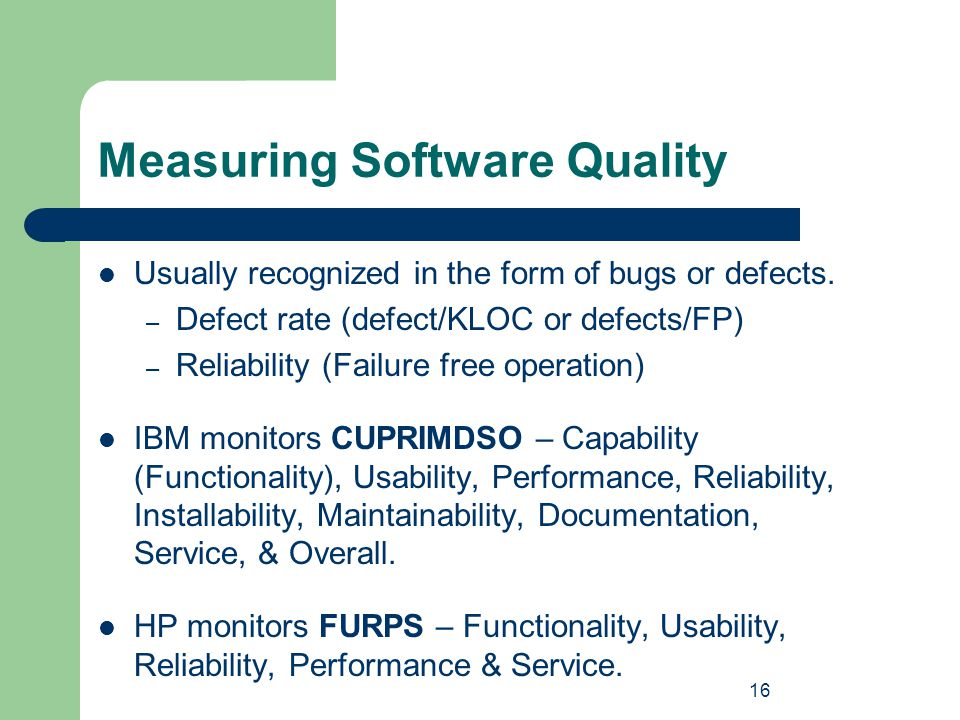 Measuring Software Quality