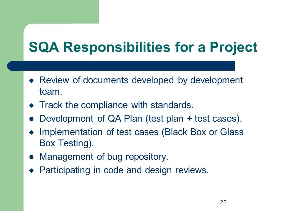SQA Responsibilities for a Project