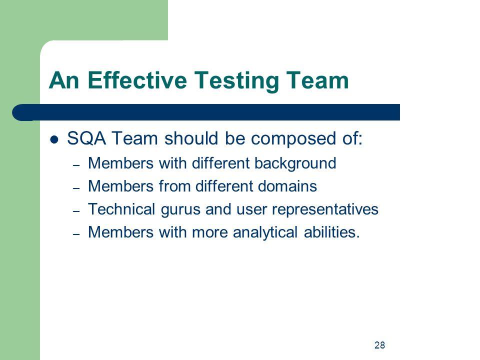 An Effective Testing Team