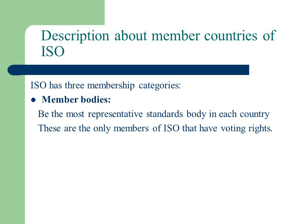 Description about member countries of ISO