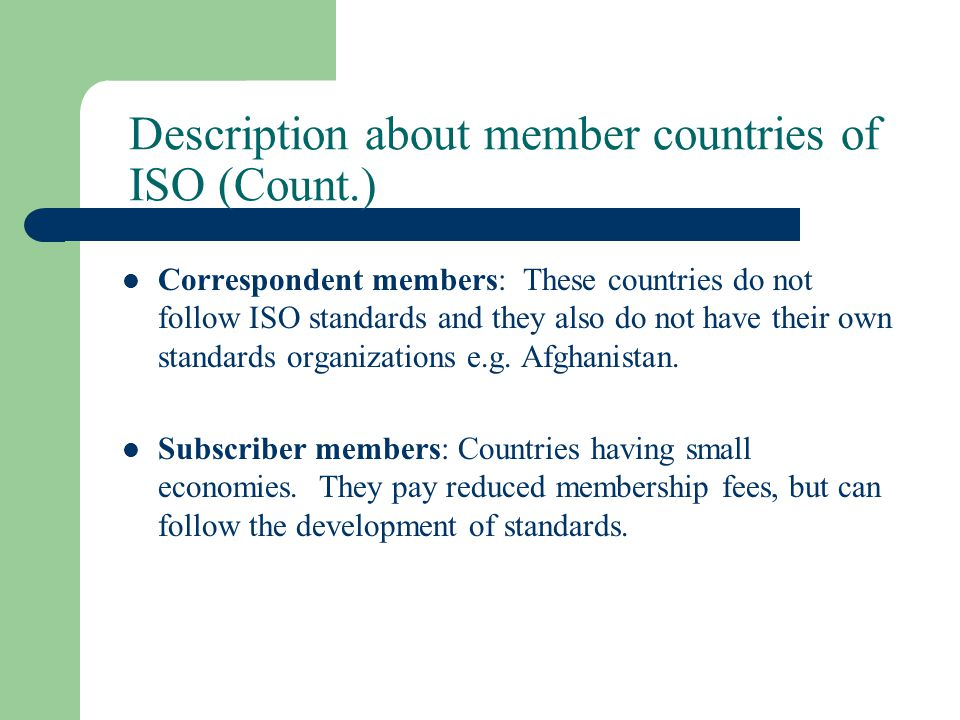 Description about member countries of ISO (Count.)