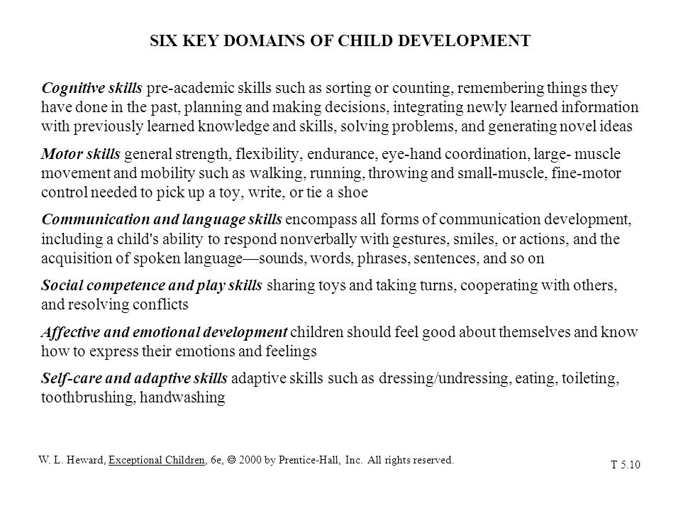 SIX KEY DOMAINS OF CHILD DEVELOPMENT