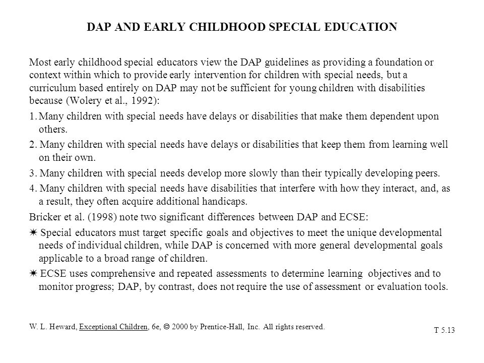 DAP AND EARLY CHILDHOOD SPECIAL EDUCATION