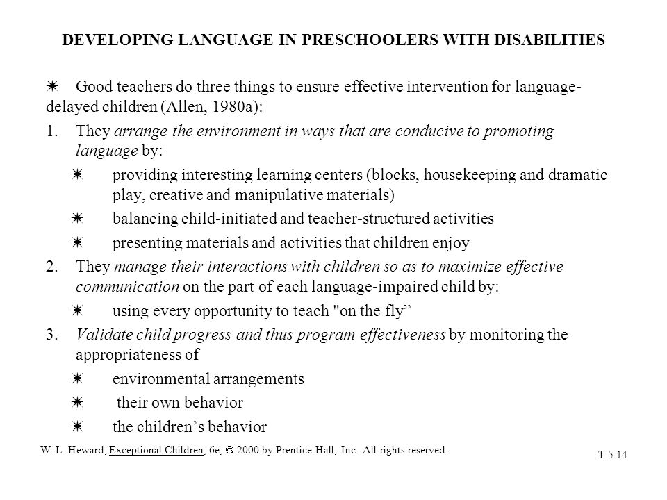 DEVELOPING LANGUAGE IN PRESCHOOLERS WITH DISABILITIES