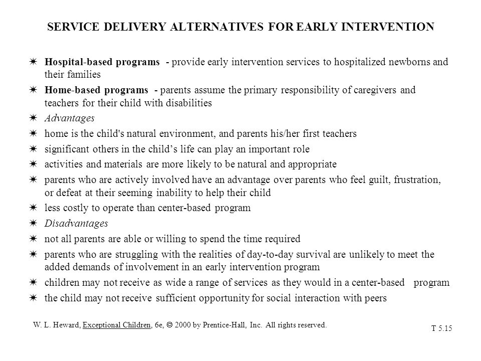 SERVICE DELIVERY ALTERNATIVES FOR EARLY INTERVENTION