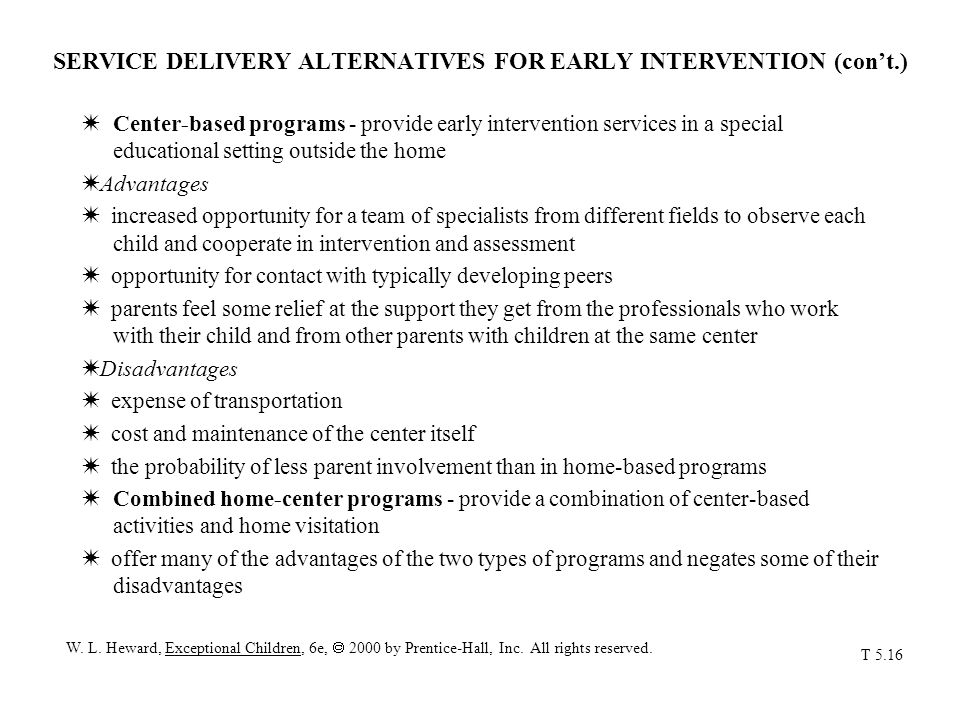 SERVICE DELIVERY ALTERNATIVES FOR EARLY INTERVENTION (con't.)