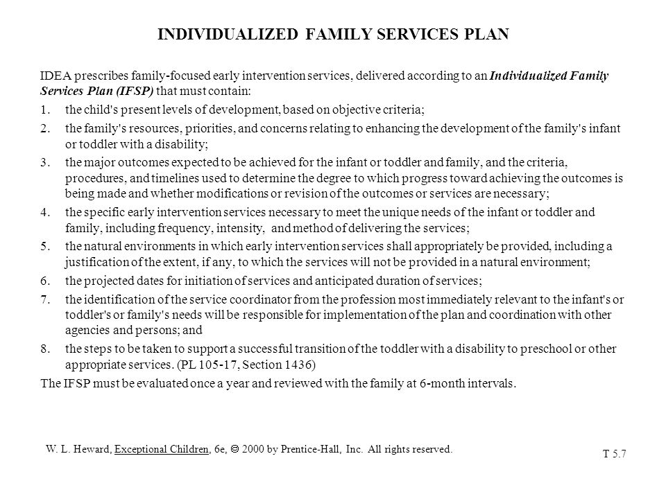 INDIVIDUALIZED FAMILY SERVICES PLAN