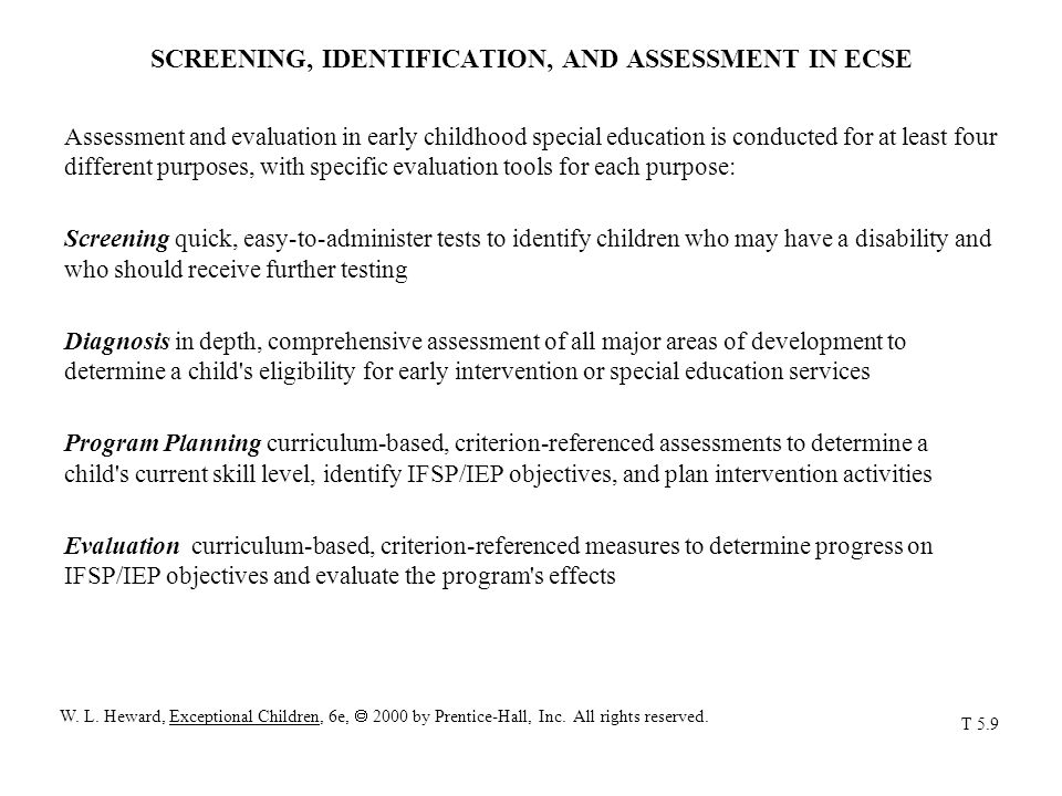 SCREENING, IDENTIFICATION, AND ASSESSMENT IN ECSE