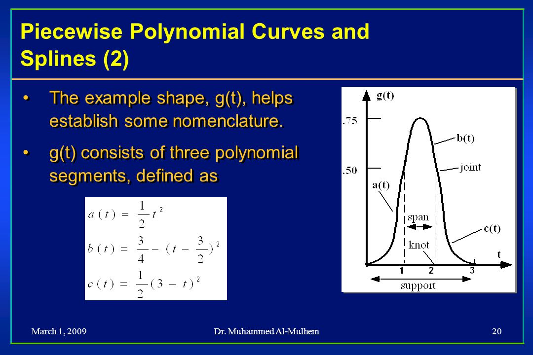 Piecewise Polynomial Curves and Splines (2)