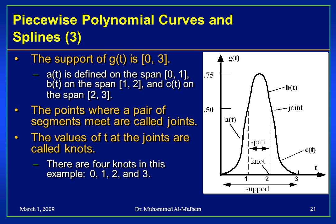 Piecewise Polynomial Curves and Splines (3)