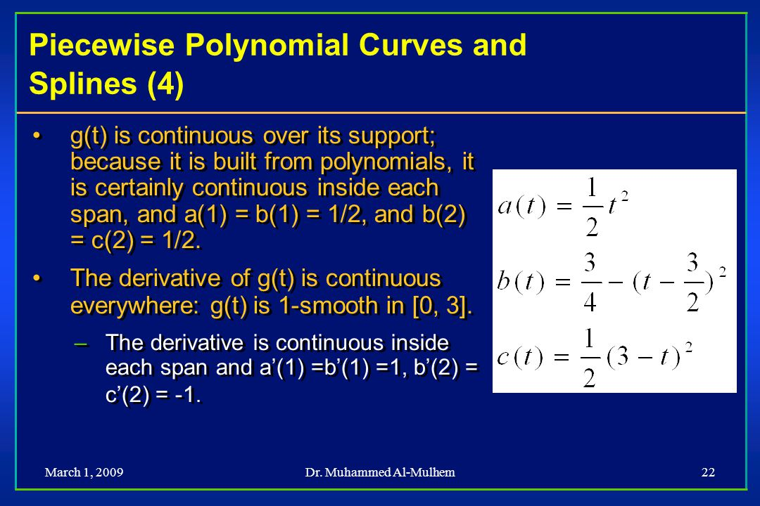 Piecewise Polynomial Curves and Splines (4)