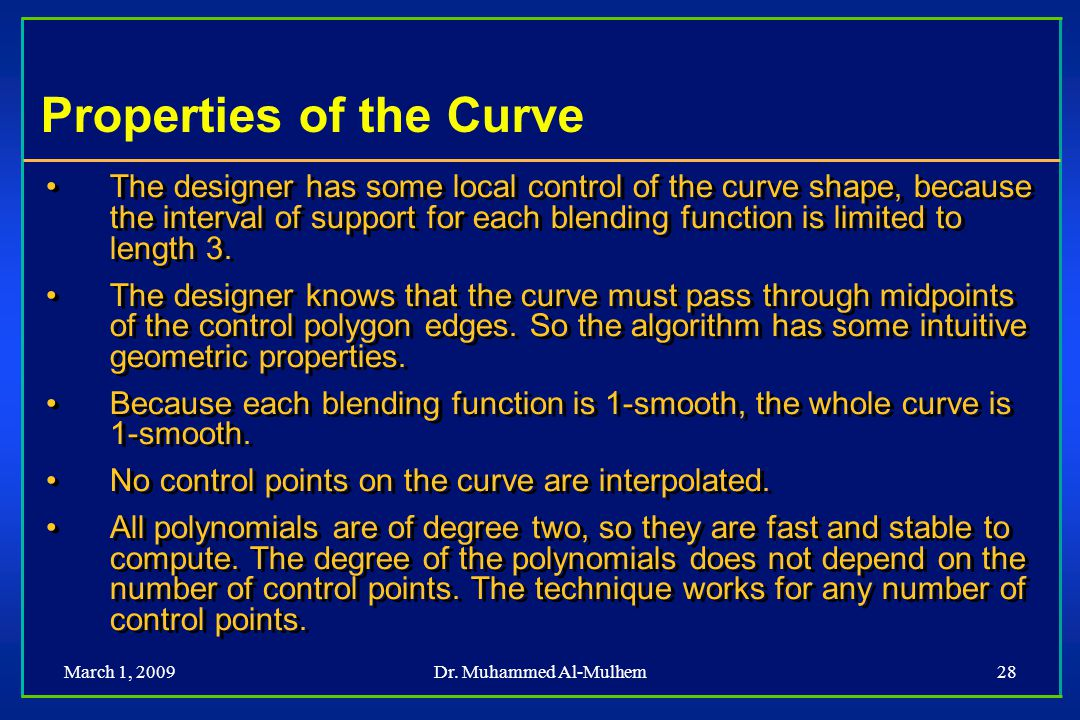 Properties of the Curve