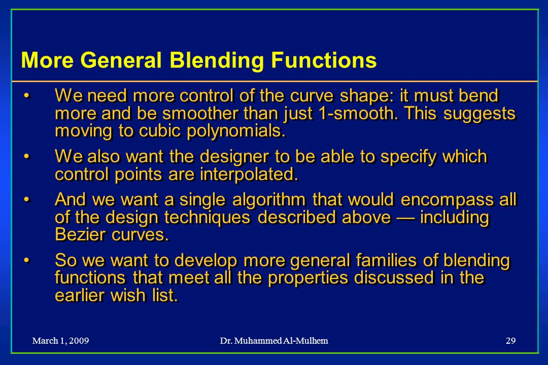 More General Blending Functions
