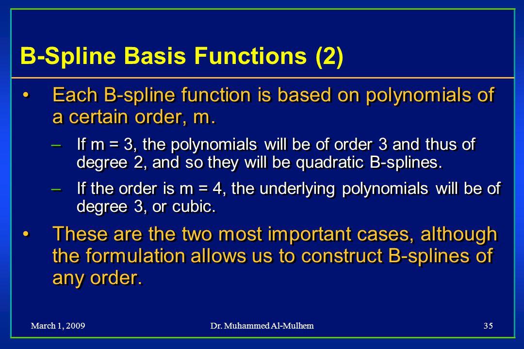 B-Spline Basis Functions (2)