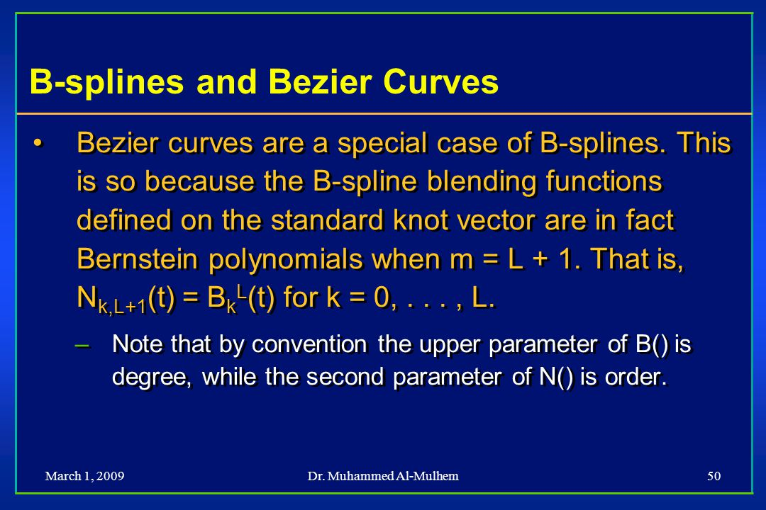 B-splines and Bezier Curves