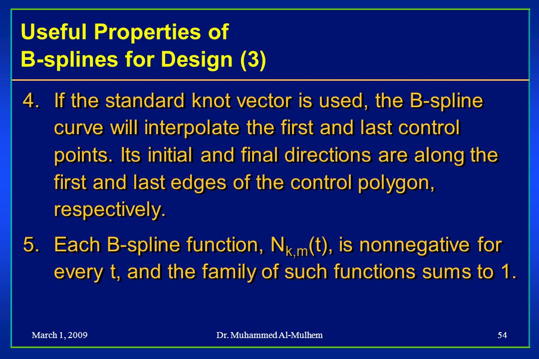 Useful Properties of B-splines for Design (3)
