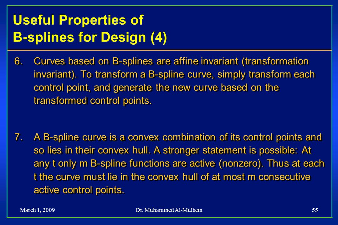 Useful Properties of B-splines for Design (4)