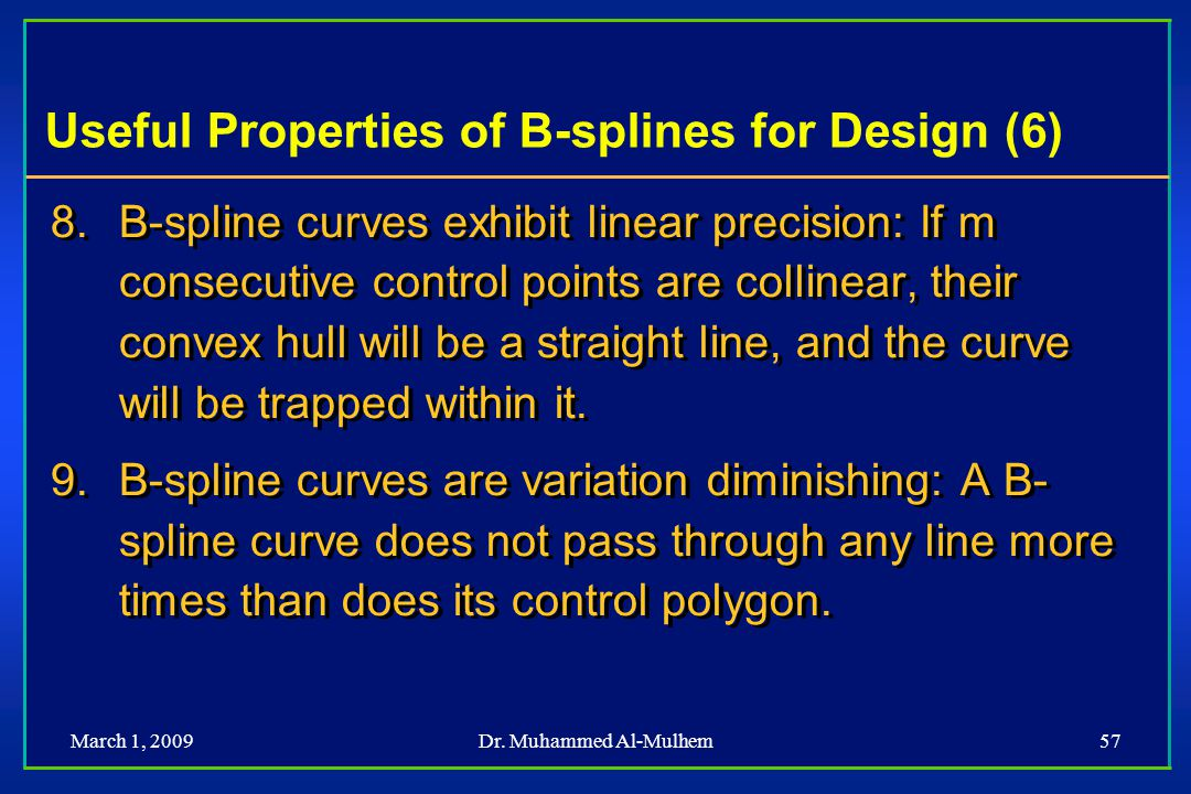 Useful Properties of B-splines for Design (6)