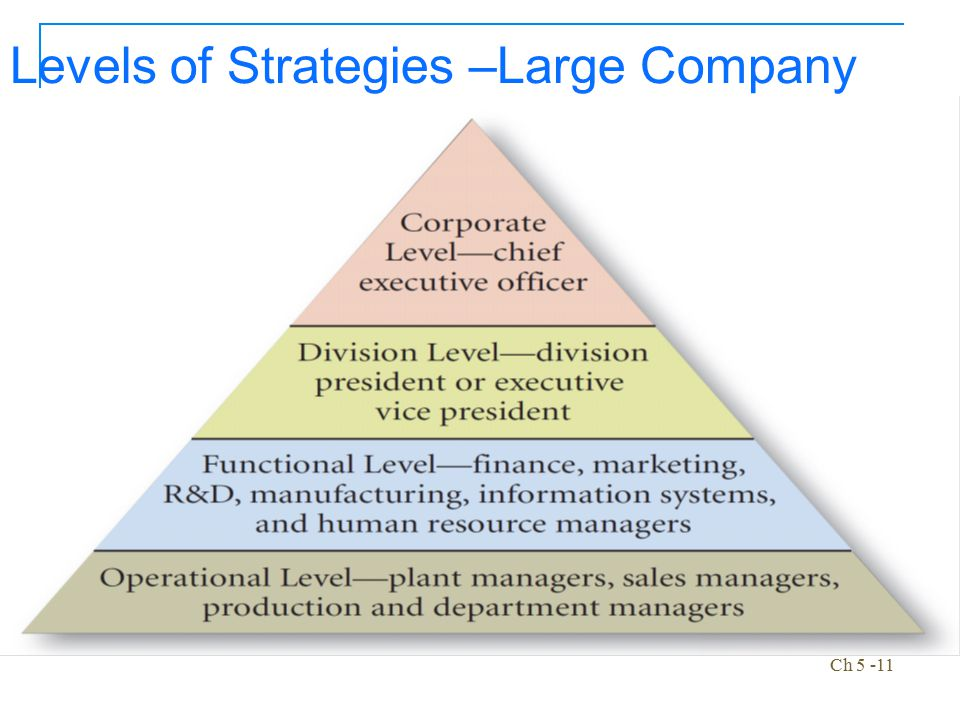 Levels of Strategies –Large Company