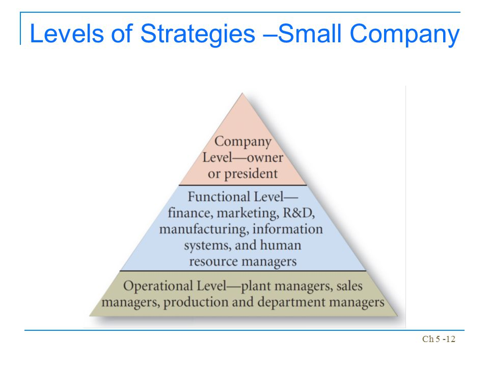 Levels of Strategies –Small Company