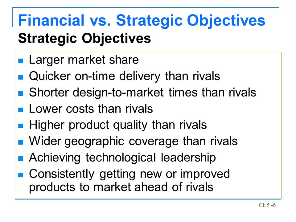 Financial vs. Strategic Objectives Strategic Objectives