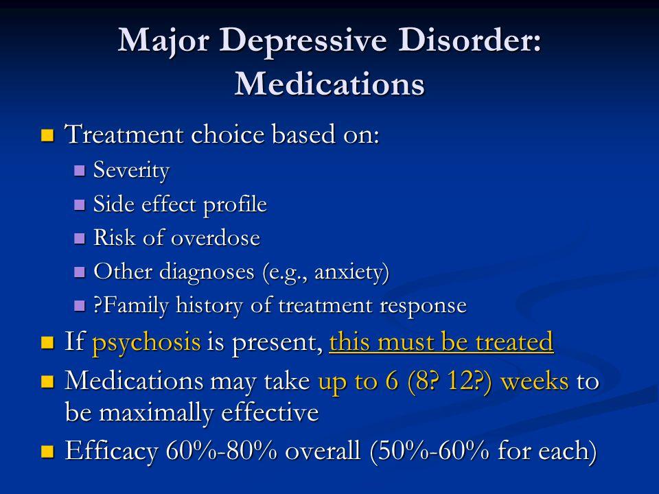 Major Depressive Disorder: Medications