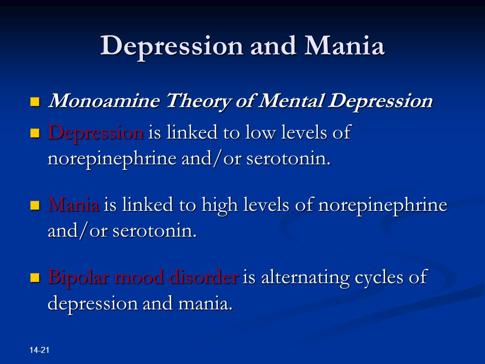 Depression and Mania Monoamine Theory of Mental Depression
