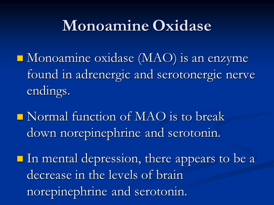Monoamine Oxidase Monoamine oxidase (MAO) is an enzyme found in adrenergic and serotonergic nerve endings.
