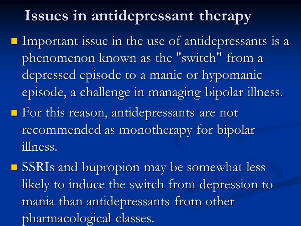 Issues in antidepressant therapy