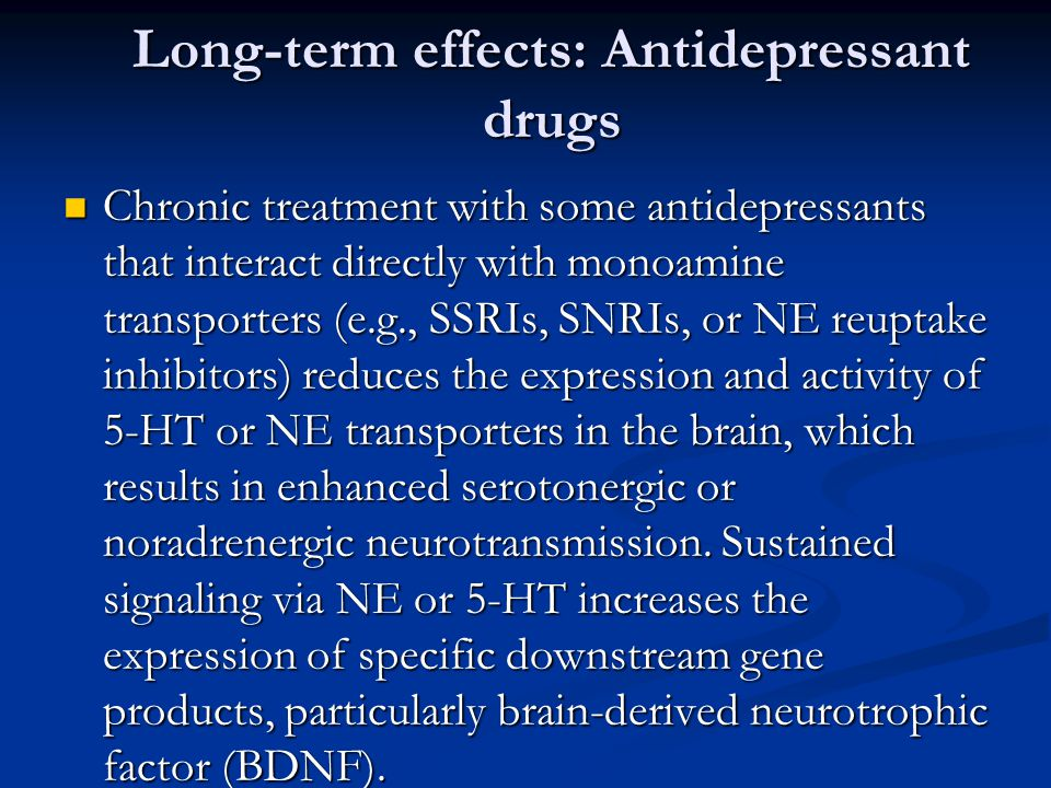 Long-term effects: Antidepressant drugs