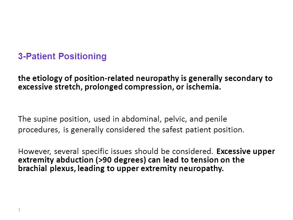 3-Patient Positioning the etiology of position-related neuropathy is generally secondary to excessive stretch, prolonged compression, or ischemia.
