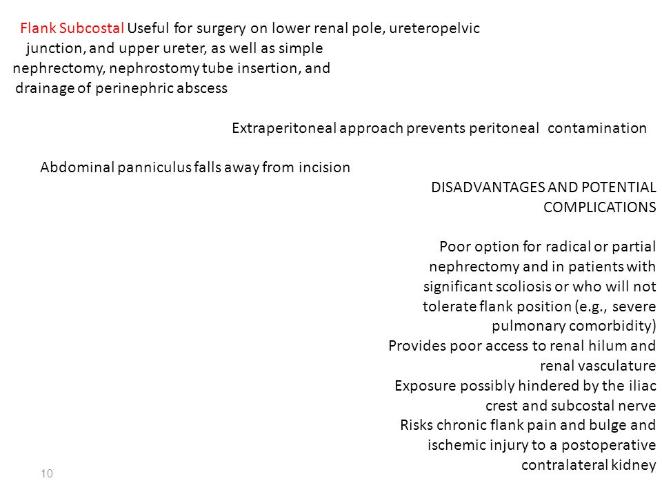 Flank Subcostal Useful for surgery on lower renal pole, ureteropelvic