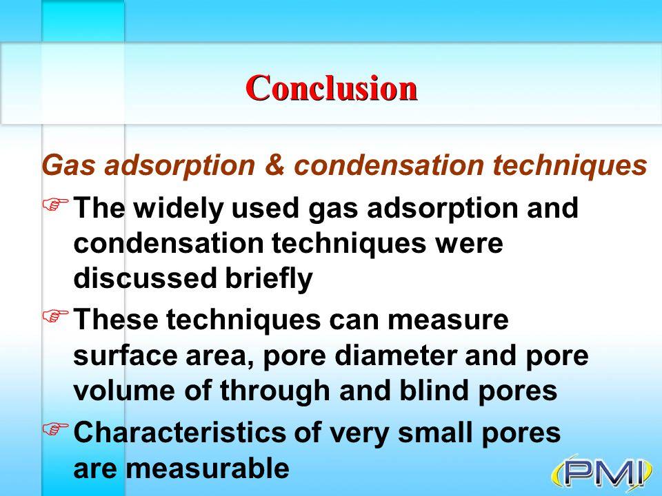 Conclusion Gas adsorption & condensation techniques