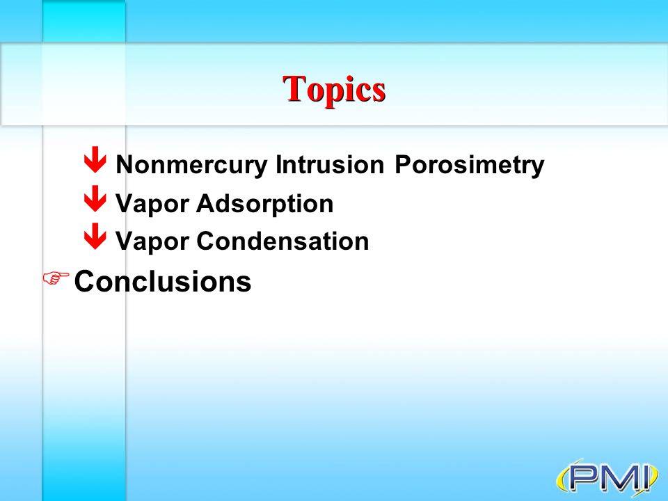 Topics Conclusions Nonmercury Intrusion Porosimetry Vapor Adsorption