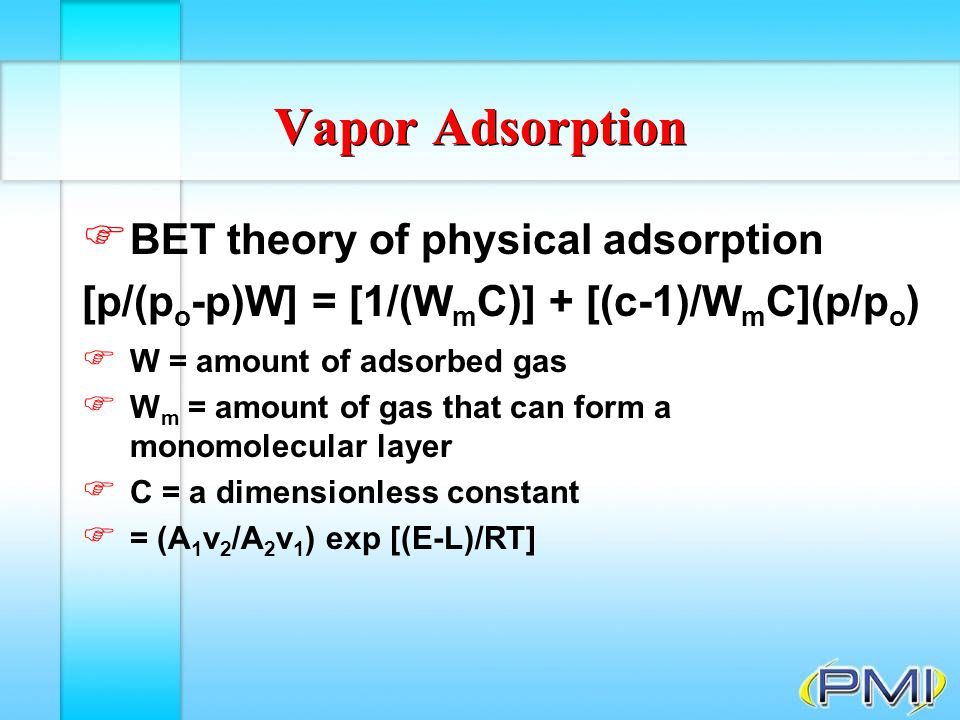 Vapor Adsorption BET theory of physical adsorption