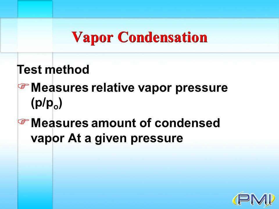 Vapor Condensation Test method Measures relative vapor pressure (p/po)