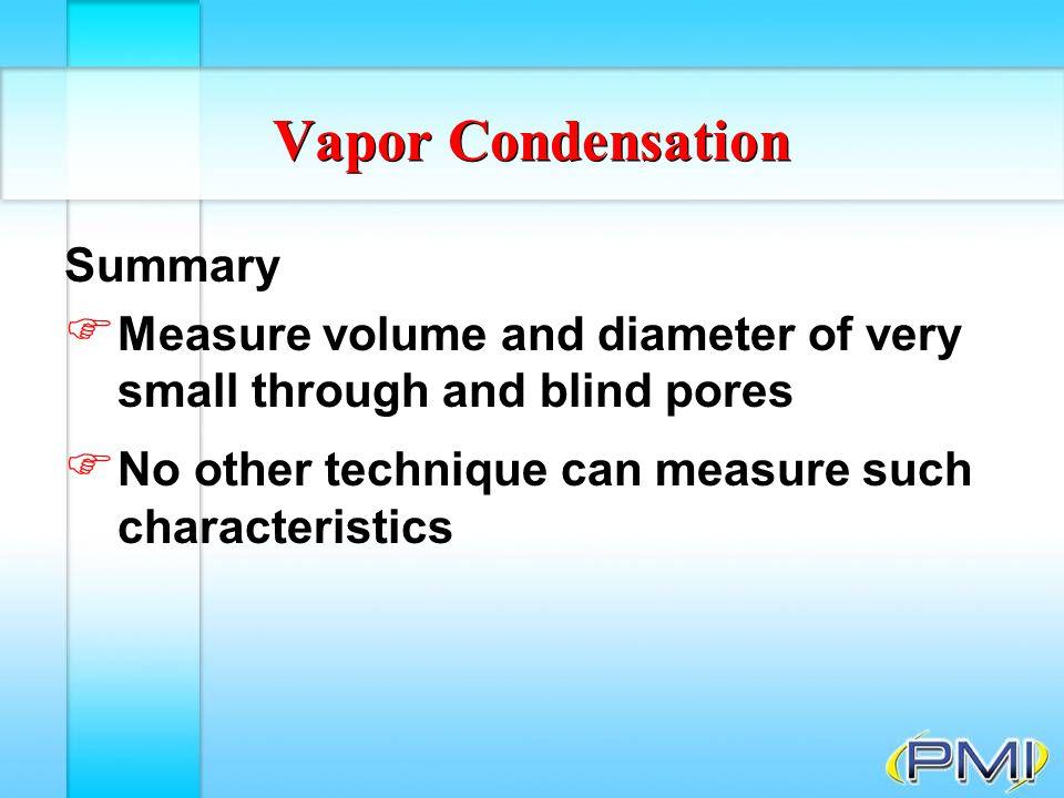 Vapor Condensation Summary