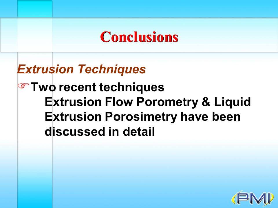 Conclusions Extrusion Techniques