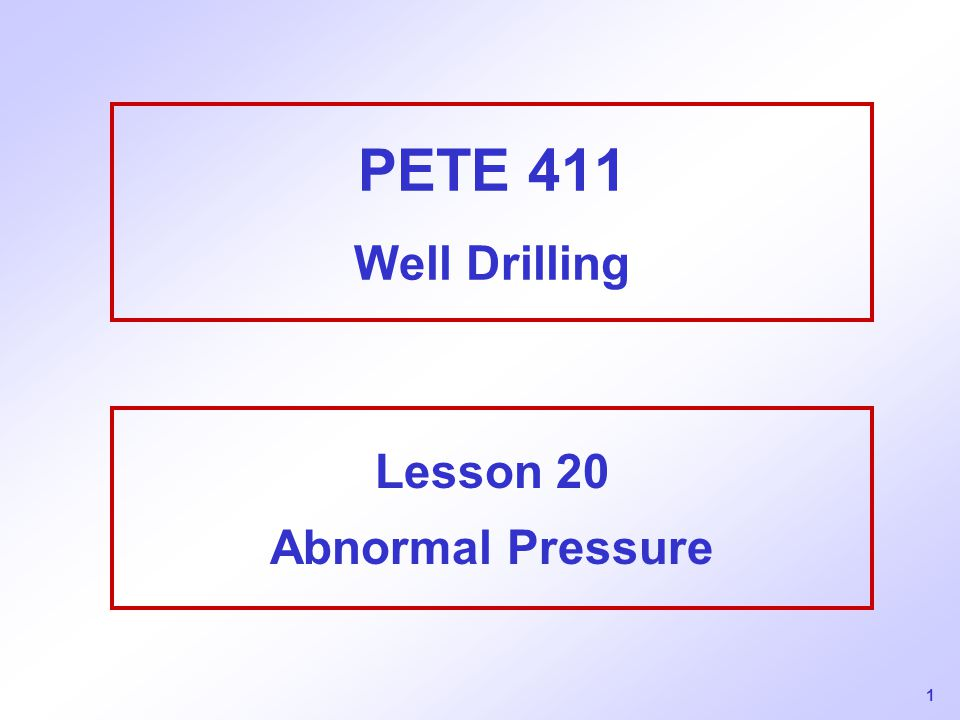 Lesson 20 Abnormal Pressure