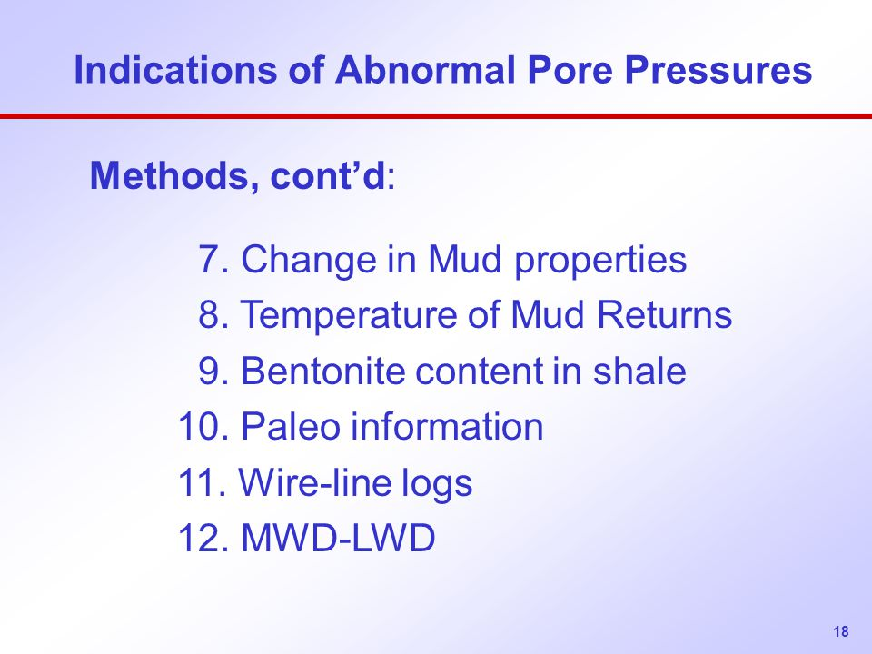 Indications of Abnormal Pore Pressures