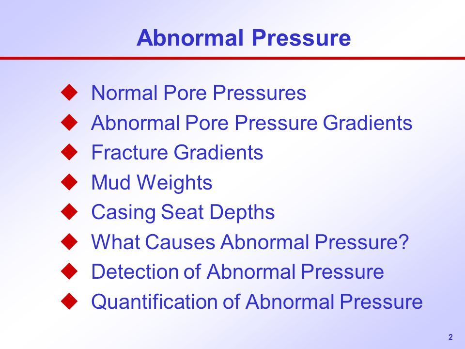 Abnormal Pressure Normal Pore Pressures