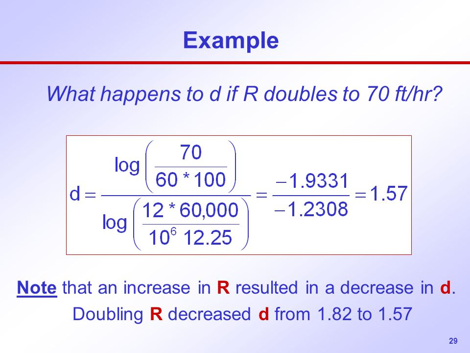 Example What happens to d if R doubles to 70 ft/hr
