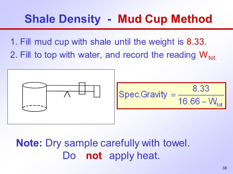 Shale Density - Mud Cup Method