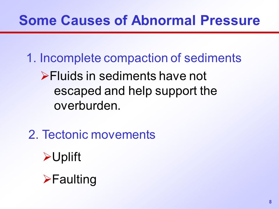 Some Causes of Abnormal Pressure