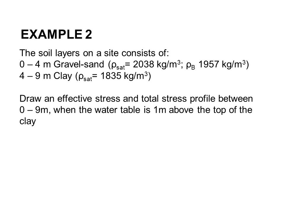EXAMPLE 2 The soil layers on a site consists of: