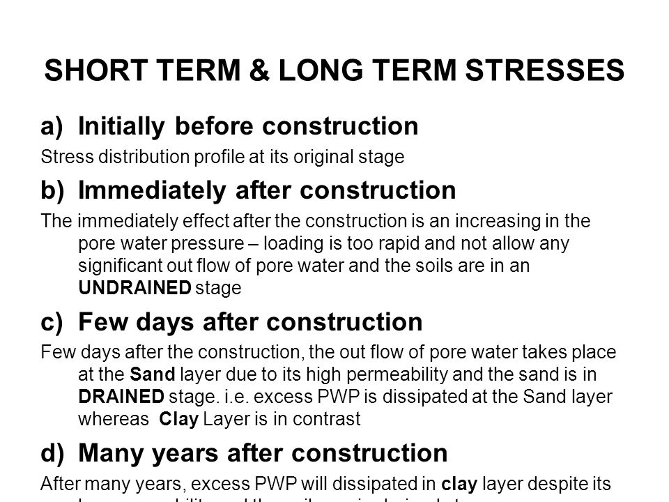 SHORT TERM & LONG TERM STRESSES